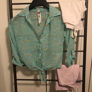 Sheer girls flower blouse with 2 tanks